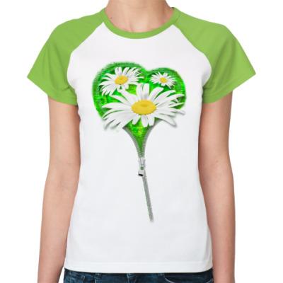 Женская футболка реглан Ромашки