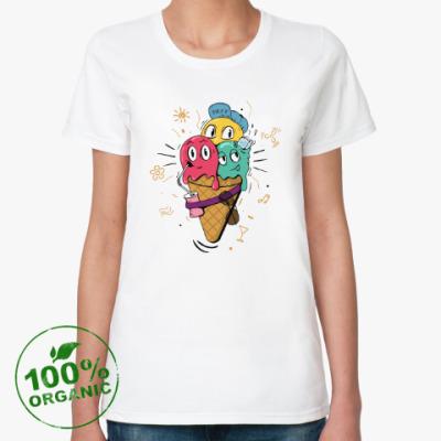 Женская футболка из органик-хлопка Смешные шарики мороженного