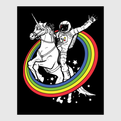 Постер Космонавт на единороге