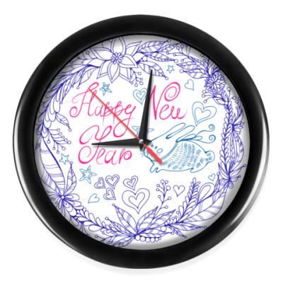 Настенные часы Bunny Happy New Year