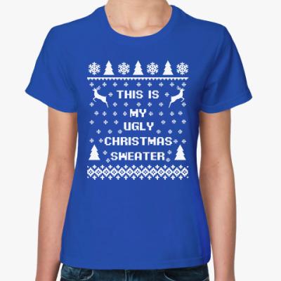 Женская футболка Страшный новогодний свитер