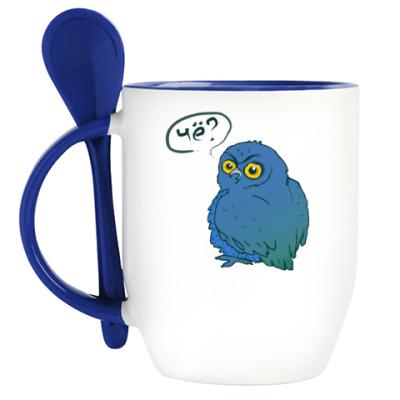 Кружка с ложкой Внезапная синяя сова