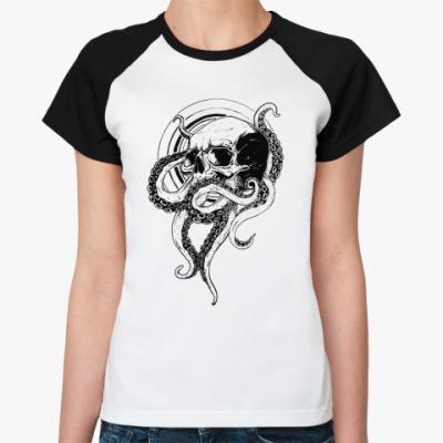 Женская футболка реглан Череп с щупальцами