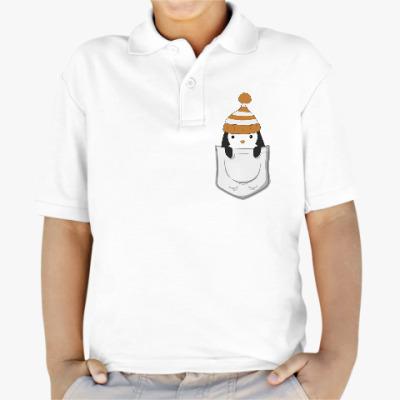 Детская рубашка поло Пингвин в кармашке