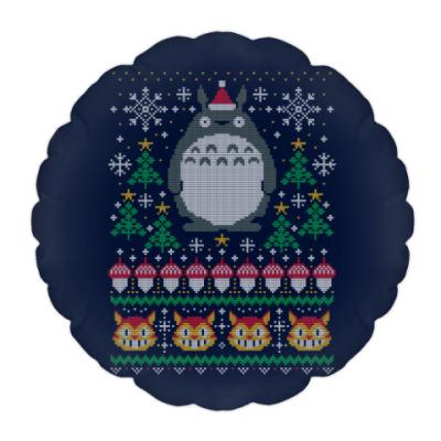 Подушка Новогодний Тоторо и кот Totoro