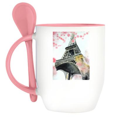Кружка с ложкой 'Париж'