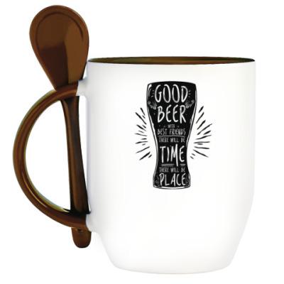 Кружка с ложкой Весёлая кружка (funny mug)