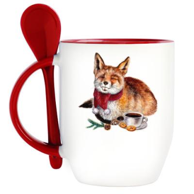 Кружка с ложкой Новогодняя лиса