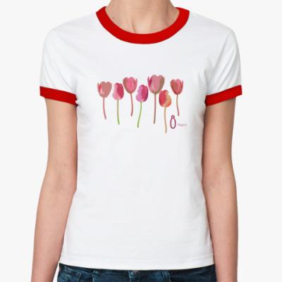 Женская футболка Ringer-T Тюльпаны