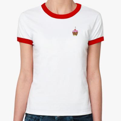 Женская футболка Ringer-T Пироженое с вишней