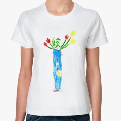 Классическая футболка Ваза с цветами