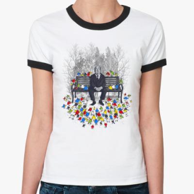 Женская футболка Ringer-T Альфред Хичкок - птицы