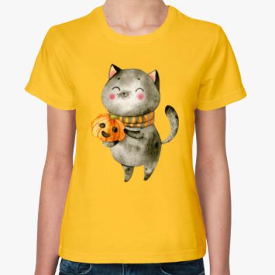 Женская футболка Котенок с тыквой на Хэллоуин
