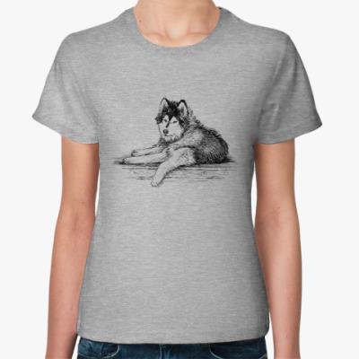 Женская футболка С собакой породы сибирский хаски