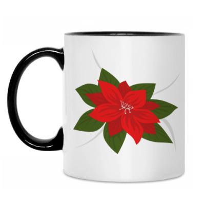 Кружка Пуансеттия рождественская