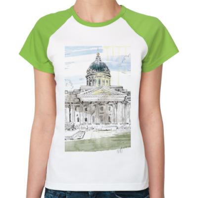 Женская футболка реглан Казанский собор. Питер.