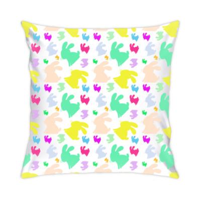 Подушка Разноцветный заяц