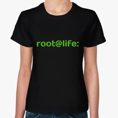 Женская футболка root@life:
