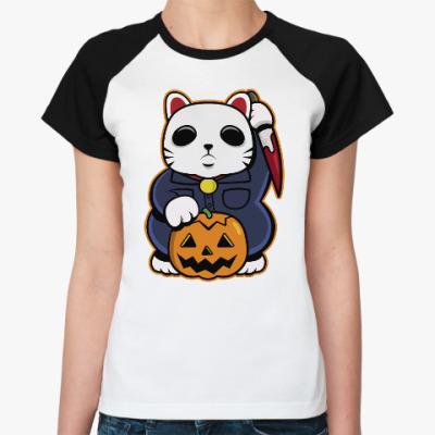 Женская футболка реглан Halloween Maneki Neko и тыква