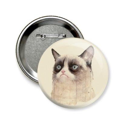 Значок 58мм Grumpy Cat / Сердитый Кот
