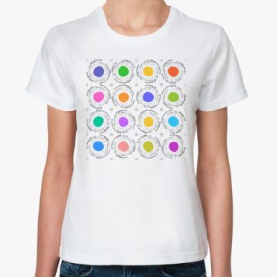 Классическая футболка Цветные кружочки с лучиками