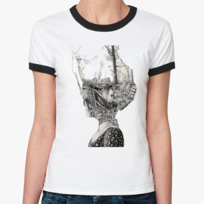 Женская футболка Ringer-T  Арт ч.б