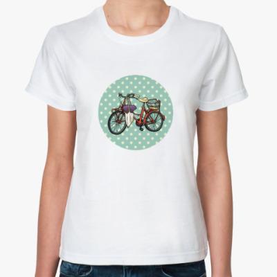 Классическая футболка Винтажный велосипед с цветами
