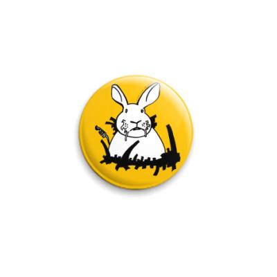 Значок 25мм Кролик белый