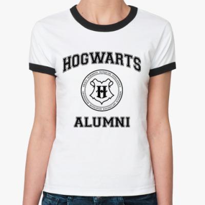 Женская футболка Ringer-T Hogwarts Alumni