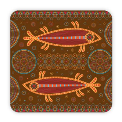Костер (подставка под кружку) Рыбы в этностиле