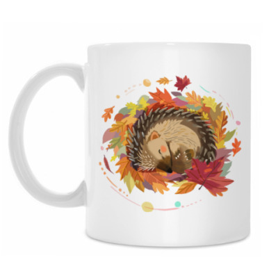 Кружка Осень. Ежик. Осенняя листва