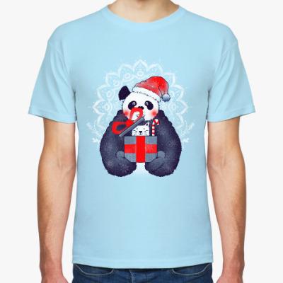 Футболка Новогодняя панда и кот