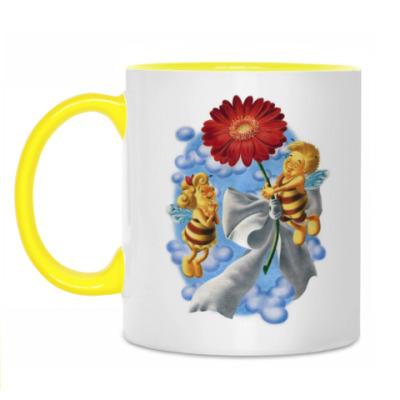 Кружка Пчёлки и цветок