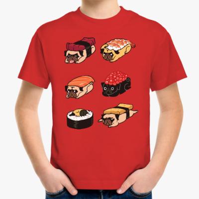 Детская футболка Суши мопс