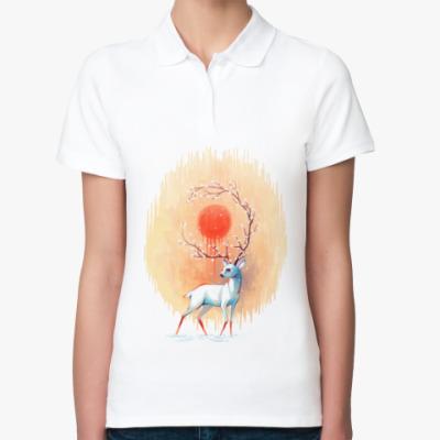 Женская рубашка поло Дух весны белый олень