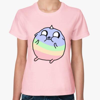 Женская футболка милый пухлый единорог