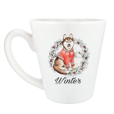 Чашка Латте Новогодний Хаски