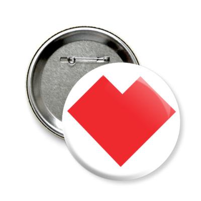 Значок 58мм Сердце танграм