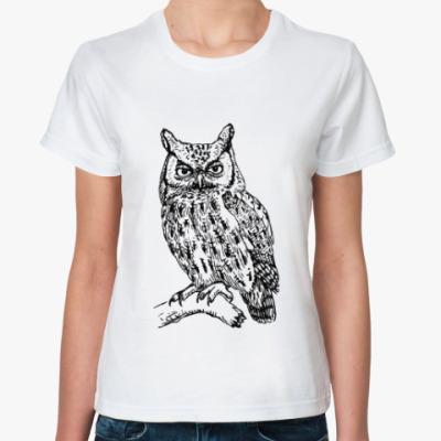 Классическая футболка Сова, совушка, мудрые в городе