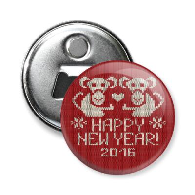 Магнит-открывашка Новогодние обезьянки 2016