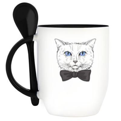 Кружка с ложкой Hipster Cat