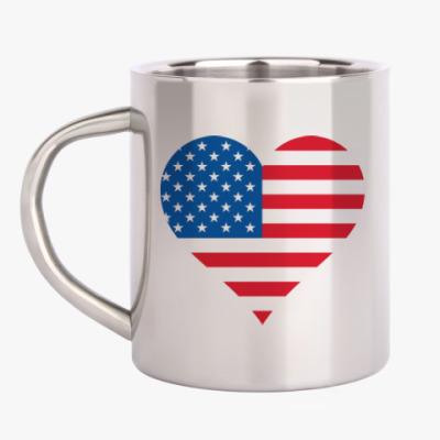 Кружка металлическая USA Heart