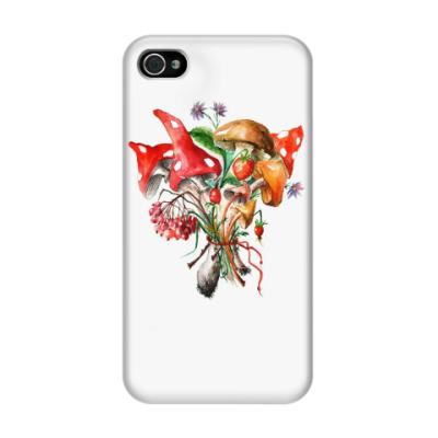 Чехол для iPhone 4/4s Грибной букет. Акварель