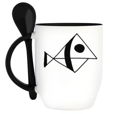 Кружка с ложкой Рыба