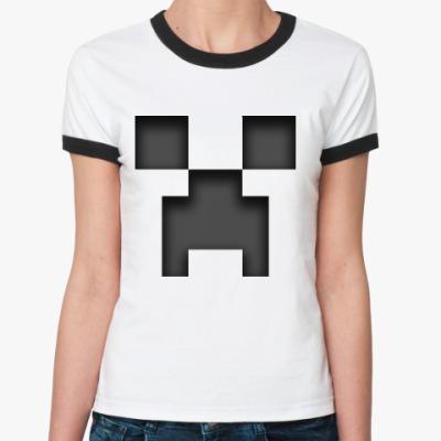 Женская футболка Ringer-T Minecraft Creeper