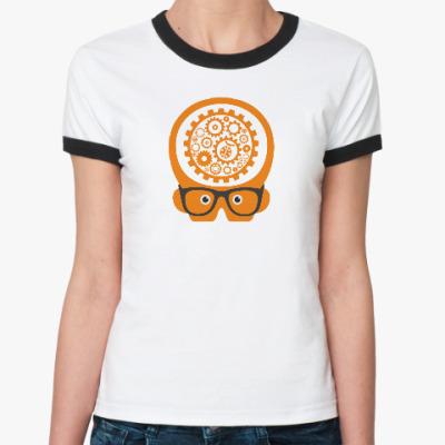 Женская футболка Ringer-T 'Думай как баг'