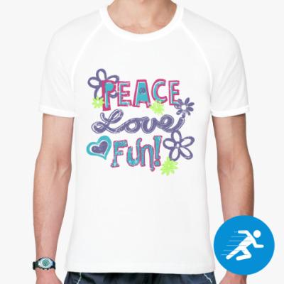 Спортивная футболка Мир, Любовь, Веселье!