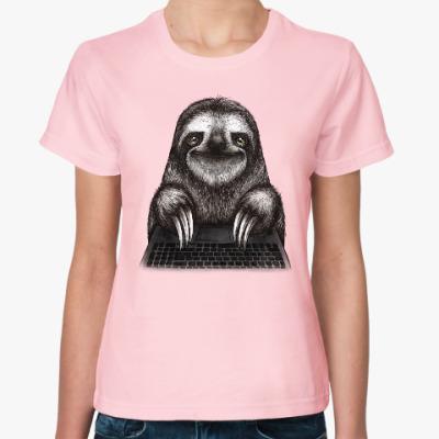 Женская футболка Ленивец компьютерный