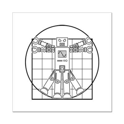 Наклейка (стикер) Витрувианский робот