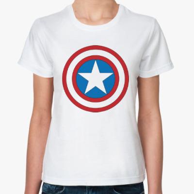 Классическая футболка captain america  marvel капитан америка